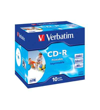 VERBATIM CD-R 52 X 700MB FAST DRY JEWEL CASE 10PK