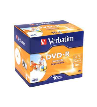 VERBATIM DVD+R PRINTABLE 16X 10PK
