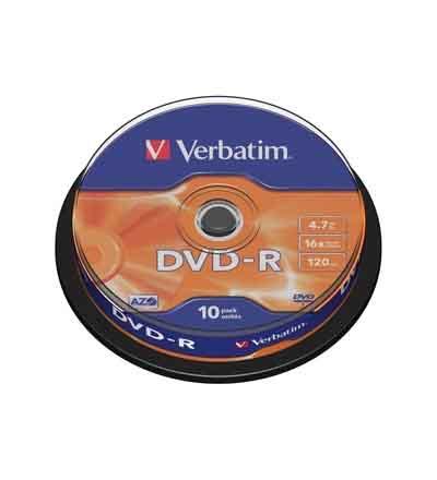 VERBATIM DVD-R MATT SILV 16X 10 SPINDEL