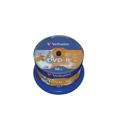VERBATIM DVD-R 16X 4.7GB WIDE INK PRINT 50 SPINDEL