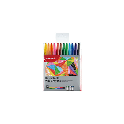 WAX CRAYONS RETRACTABLE MON AMI (WALLET OF 12)
