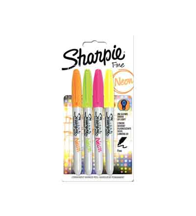 SHARPIE PERMANENT MARKER FINE POINT NEONS (SET OF 4)