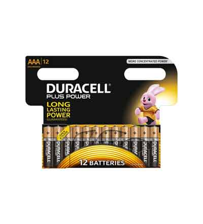 DURACELL PLUS POWER AAA 12'S