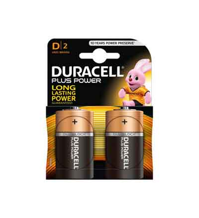 DURACELL PLUS POWER D 2'S