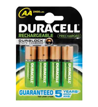 DURACELL RECHARGEABLE AA 2400MAH 4'S