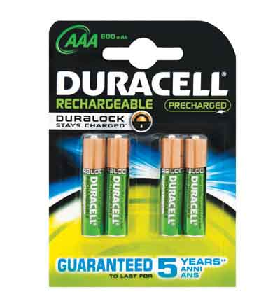 DURACELL RECHARGEABLE AAA 800MAH 4'S