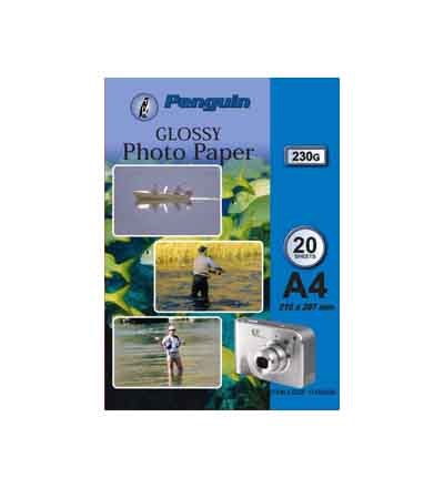 PENGUIN A4 PHOTO PAPER INKJET GLOSS 230G 20 SHEETS