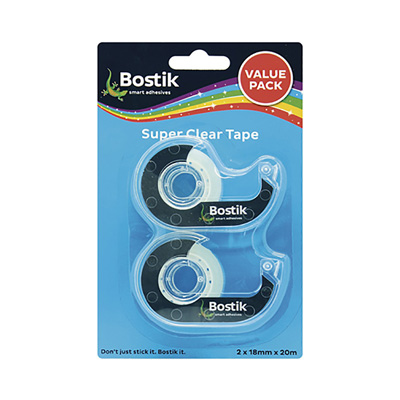 BOSTIK CLEAR TAPE DISPENSER - VALUE PACK 2 x (18MMX20M)