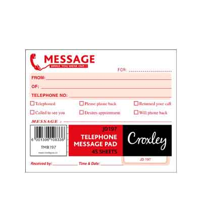 CROXLEY JD197 TELEPHONE MESSAGE PAD