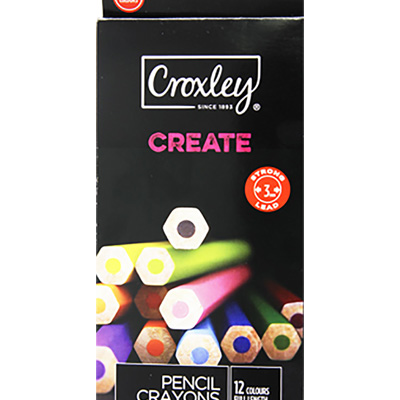 CROXLEY CREATE PENCIL CRAYONS, FULL LENGTH