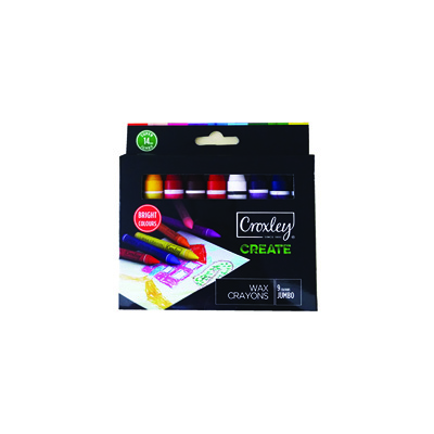 CROXLEY CREATE 14MM JUMBO WAX CRAYONS (SET OF 9)