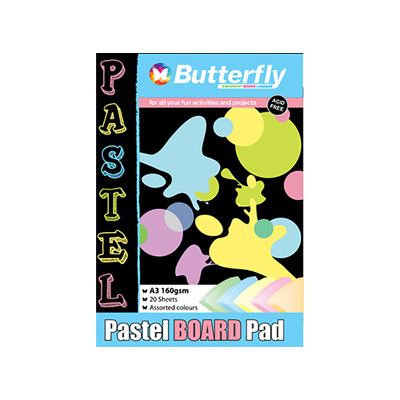 BUTTERFLY A4 BOARD PADS PASTEL 20 PG