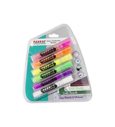 MARKERS GLASS/CHALK BOARD PARROT (SET OF 6)