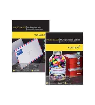 TOWER INKJET LASER LABELS (PACKS OF 25)