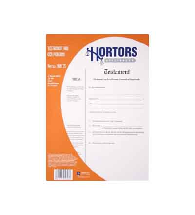 HORTORS PRE-PACKED TESTAMENT VAN EEN PERSOON DOCUMENTS