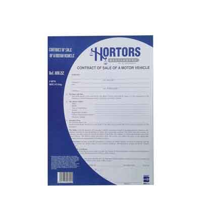 HORTORS PRE-PACKED CONTRACT OF SALE - MOTOR VEHICLE DOCUMENTS
