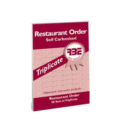 RBE RESTAURANT ORDER TRIPLICATE PAD 50 SETS