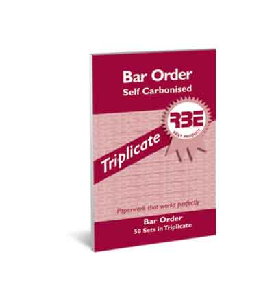 RBE BAR ORDER TRIPLICATE PAD 50 SETS