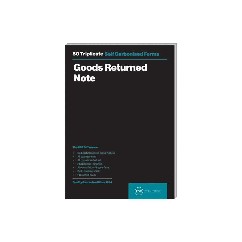 RBE A5 TRIPLICATE GOODS RETURN NOTE PAD 50 SHEETS