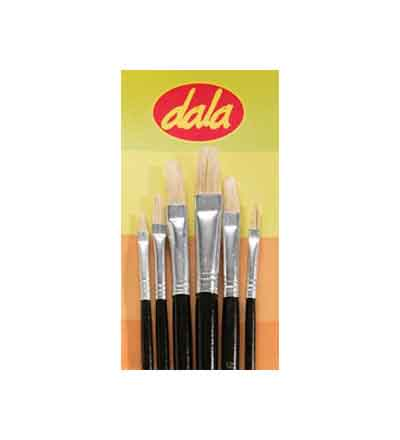 DALA WHITE BRISTLE FLAT BRUSH (SET OF 6)