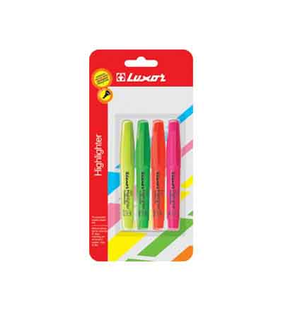 LUXOR MINI HIGHLIGHTERS (PACK OF 4)