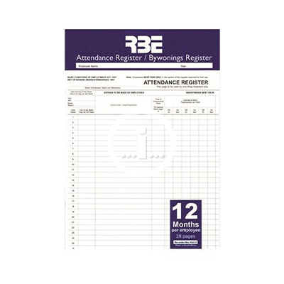 RBE A4 ATTENDANCE REGISTER 12 MONTH SOFT COVER 28 PG