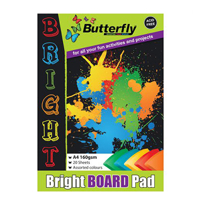 BUTTERFLY A4 BOARD PADS BRIGHT 20 PG