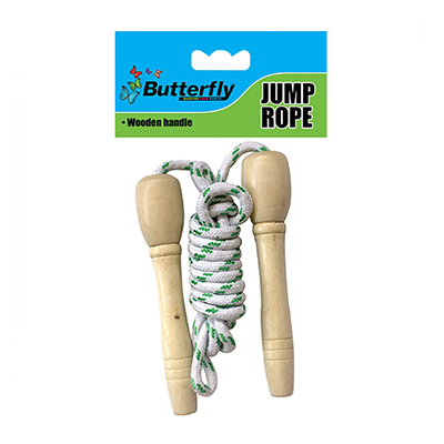 BUTTERFLY SKIPPING ROPE WOODEN HANDLE