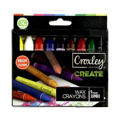 CROXLEY CREATE 14MM JUMBO WAX CRAYONS (SET OF 9)