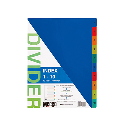 MEECO A4 PRINTED DIVIDERS POLYPROPYLENE
