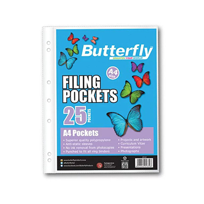 FILING POCKETS A4 - BUTTERFLY MIXED COLOURS (PACK OF 25)