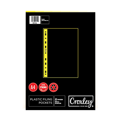 CROXLEY A4 FILING POCKETS 100 MIC (PACK OF 50)