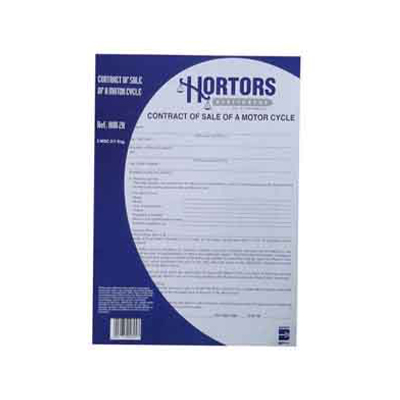 HORTORS CONTRACT OF SALE - MOTOR CYCLE DOCUMENTS