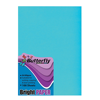 BUTTERFLY A4 BRIGHT PAPER (PACK OF 100)