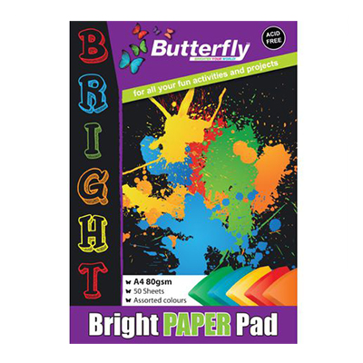 BUTTERFLY A4 PAPER PADS BRIGHT 50 PG