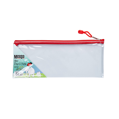 MEECO CLEAR PENCIL BAG 30CM WITH ASSORTED ZIPS