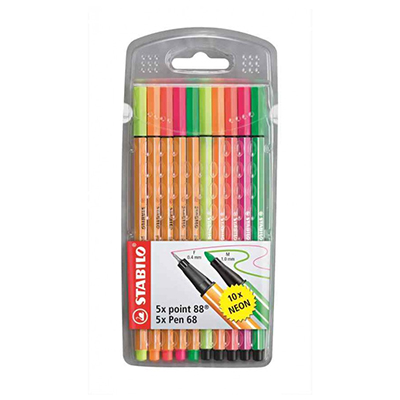 POINT 88 STABILO FINELINERS NEON (WALLET OF 10)