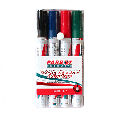WHITEBOARD MARKERS PARROT BULLET TIP (SET OF 4)